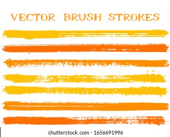 Trendy ink brush strokes isolated design elements. Set of paint lines. Vintage Ink brushe stripes isolated on white, vector color scheme samples.