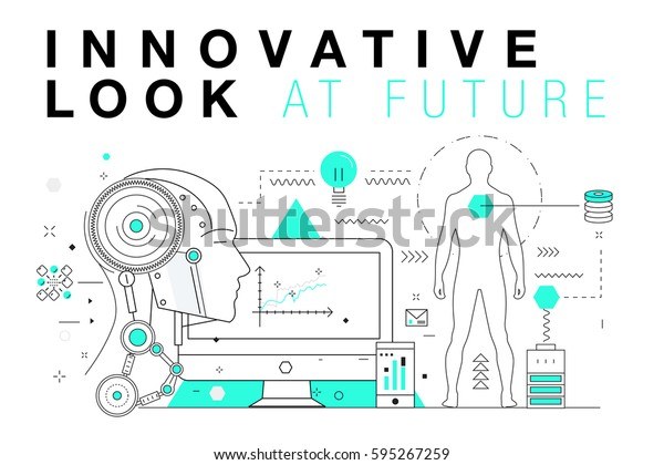 Trendy Innovation Systems Layouts Polygonal Contour Stock Vector Royalty Free 595267259