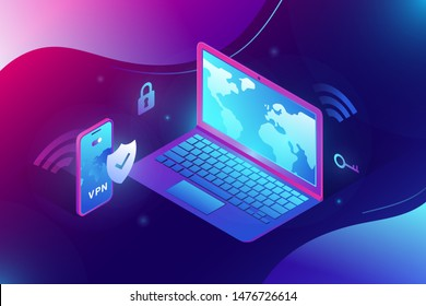 Trendy isometric 3d illustration of vpn security software for computers and smartphones. Notebook and app screen showing vpn connectiion. Gradient vivid electric color template for web banners.