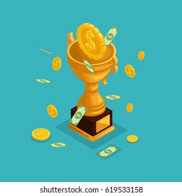Trendy isometric objects, 3d cup, award, money prize, money fall from the sky, gold coins, cash dollars, lots of money is isolated on blue.