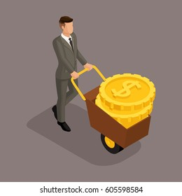 Trendy isometric people, 3d businessman, concept with young businessman, carry money on estrus, gold, rich businessman isolated on a dark background.