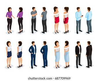 Trendy Isometric people 3d man and woman front view back view. Male and female characters in different poses. Elegant and fashionable people. Vector illustration.
