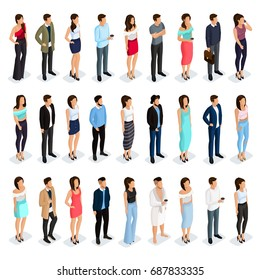 Trendy Isometric people 3D man and woman. Male and female characters in different poses. Elegant and fashionable people. Vector illustration.