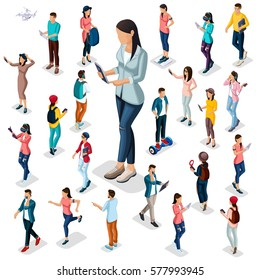 Trendy Isometric people and gadgets, 3D teenagers, students, large group of people, using hi tech technology, the girl with the protagonist phones isolated.
