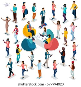 Trendy Isometric people and gadgets, 3D people, teenager, students, large group of people, using hi tech technology, pad, laptop, headphones, scales, sport, smart watches, virtual glasses isolated.