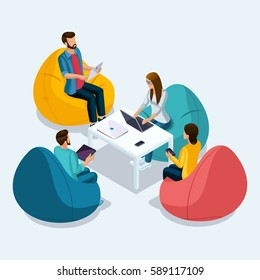 Trendy Isometric people and gadgets, 3D teenagers, small group of people using hi tech technology, freelancers, working, chatting, online rewritten White isolated.