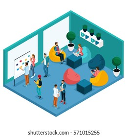 Trendy Isometric people and gadgets, room coworking center, room for relaxation and discussion, soft krasla pear, working environment freelancers communicate, artists, programmers are isolated.