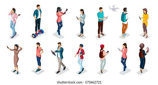 Trendy Isometric people and gadgets, teenagers, young people, students, using hi tech technology, mobile phones, pad, laptops, make selfie, smart watches, virtual games, navigators isolated.