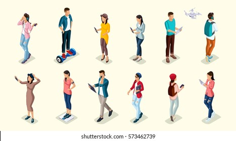 Trendy Isometric people and gadgets, teenagers, young people, students, using hi tech technology, mobile phones, pad, laptops, make selfie, smart watches.