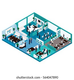 Trendy Isometric people illustration front view of office work, business concept, office furniture, workflow, office workers are isolated.