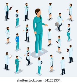 Trendy isometric people. Medical staff, hospital, doctor, surgeon. Most nurse, People for the front view of the visas, standing position isolated on a light background. Set 1.