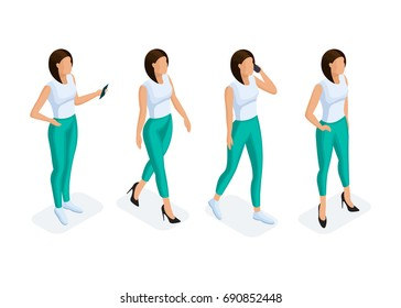 Trendy isometric people set. 3D woman with a phone in different poses on a light background. Vector illustration