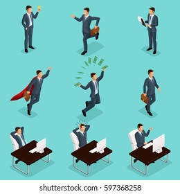 Trendy isometric people vector, 3d businessmen jump, running, idea, joy, business scene, connected with a young businessman on a blue background.