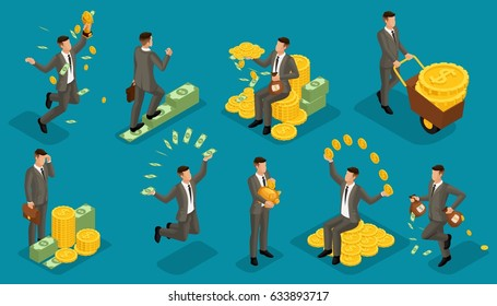 Trendy isometric people vector, 3d businessmen money attachments, business scene with young businessman, investment, lots of cash, businessman bathes in money on bright blue background.