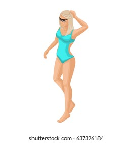Trendy isometric vector people, 3d girl blonde in a turquoise swimsuit is walking along the beach vector illustration.