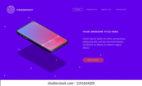 Trendy Isometric Vector Smartphone. Web Template For Header, Mobile App Mockup Or Banner With Isometric Mobile Phone. Finger Print App Showcase.