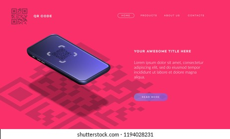 Trendy Isometric Vector Smartphone. Web Template For Header, Mobile App Mockup Or Banner With Isometric Mobile Phone. QR Code App Showcase.