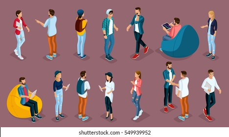 Trendy Isometric young people, teenagers and students. Creative people in the modern hipster clothing, shoes, jeans, hats, with modern gadgets, Freelancers on purple background isolated.