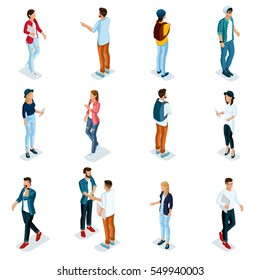 Trendy Isometric young people, teenagers and students. Creative people in modern dress hipster, modern gadgets, Freelancers isolated on white background. Vector illustration