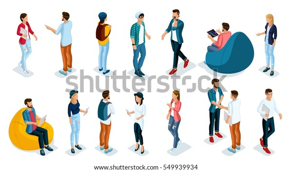 Trendy Isometric young people, teenagers and students. Creative people in the modern hipster clothing, shoes, jeans, hats, with modern gadgets, Freelancers on white background isolated.