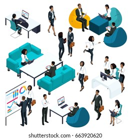 Trendy isometrics of businessmen African American 3d characters, business concept of young entrepreneurs and office workers for vector illustrations