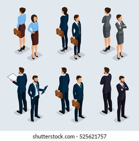 Trendy isometrics, isometric people. Businessmen, business woman in corporate clothing, stylish clothing. People behind a front view of visas, standing posture. Vector illustration.