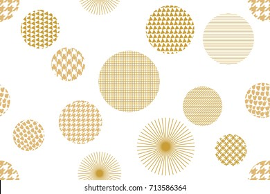 Trendy Japanese motifs. Seamless vector pattern with different geometric shapes. Abstract white background with golden ornaments. Oriental textile collection.
