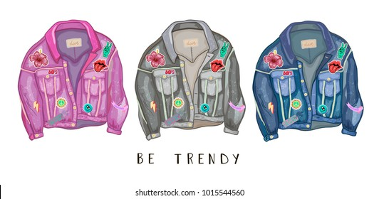 Trendy jeans jacket with cartoon style 80s 90s color patches and badges.Hipster street fashion. Hand drawn doodle style vector illustration.