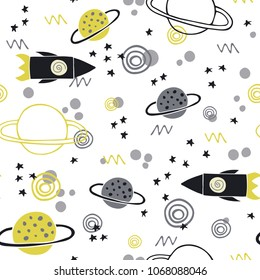 Trendy kids hand drawn seamless pattern with planets and rockets. Baby vector background illustration with space. Doodle style. Scandinavian style