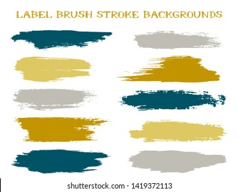Trendy label brush stroke backgrounds, paint or ink smudges vector for tags and stamps design. Painted label backgrounds patch. Vector ink color palette swatches. Ink dabs, gold grey splashes.