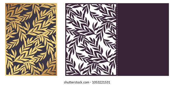 Trendy Laser cut ornamental vector template. Luxury Greeting card, envelope or wedding invitation card template. Die cut paper card with openwork ornament with golden Olive Branches.