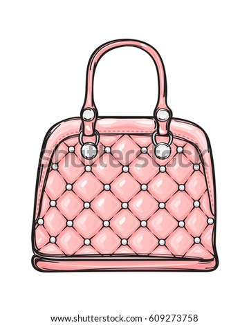 Trendy leather pink women bag with white rivets isolated on background.  Fashionable accessory for chic 3d371dc3def48
