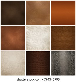 Trendy leather textures samples for furniture upholstery  and interior decorations 9 realistic icons collection isolated vector illustration