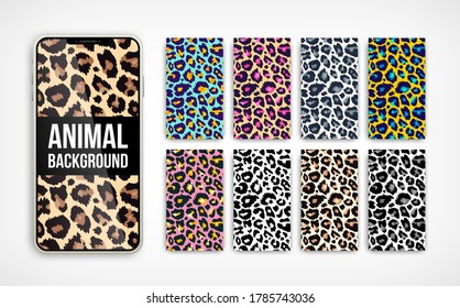 Trendy leopard abstract vertical background set. Hand drawn fashionable wild animal color texture on smartphone screen collection for social media banner, cover, phone wallpaper. Vector illustration.