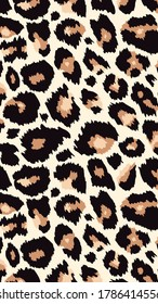 Trendy leopard pattern vertical background. Hand drawn fashionable wild animal cheetah skin natural texture for fashion design, social media banner, cover, phone wallpaper. Vector illustration.