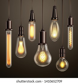 Trendy lighting design with retro style vintage looking soft glowing filament edison ligt bulbs variety vector illustration