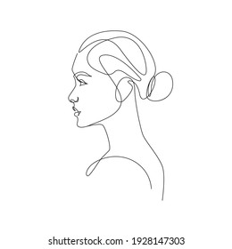 Trendy Line Art Woman Drawing. Minimalistic Black Lines Drawing. Female Face Continuous One Line Abstract Drawing. Modern Scandinavian Design. Vector Illustration.