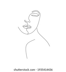 Trendy Line Art Woman Face Drawing. Minimalistic Black Lines Drawing. Female Face Continuous One Line Abstract Illustration. Modern Scandinavian Design. Vector EPS 10