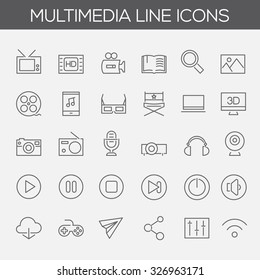 Trendy line icons - Multimedia