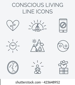 Trendy line icons set of conscious living. Key tips to simple and happy life. Recommendations for boosting happiness.