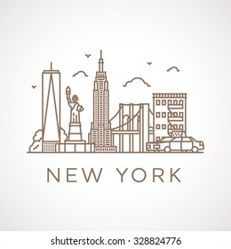 Trendy line illustration of New York City with different famous buildings and places of interest. Modern vector line-art design.