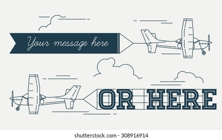 Trendy linear flat concept design on flying advertising banners pulled by light plane. Ideal for web banners and printable materials