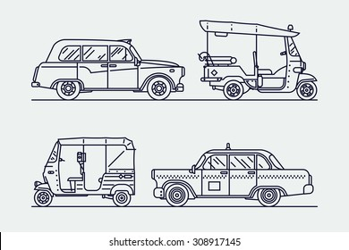 Trendy linear transport icons featuring common and exotic vehicles for hire such as taxicab, London hackney carriage cab, indian baby taxi and oriental tuk-tuk rickshaw | Thin line taxi icons