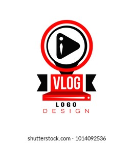Trendy logo with play button in circles. Original vector badge for online TV, information channel or Youtube live stream. Icon in red and black colors