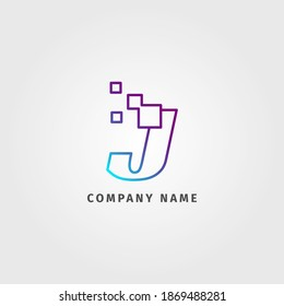 trendy logotype letter J pixel decoration for digital services company