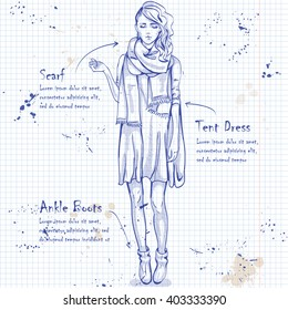 trendy look on notebook page