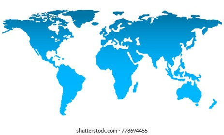 Trendy Map of the World in Bluish Color. Web Communications Concept. Vector Illustration