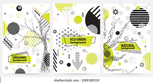 Trendy Memphis eco style geometric pattern with bright geometric leaves foliage, vector illustration with line elements and abstract geometric figures. Design backgrounds wallpaper, cards.