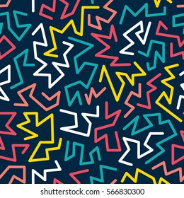 Trendy memphis style seamless pattern inspired by 80s, 90s retro fashion design. Colorful festive hipster background. Abstract doodle illustration from eighties. Blue, yellow, red, white color