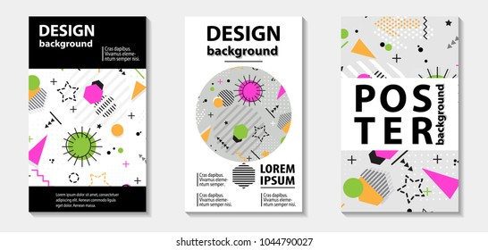Trendy memphis style template covers design. Vector illustration with line elements and abstract geometric figures.  Design backgrounds for brochure and promotion template.